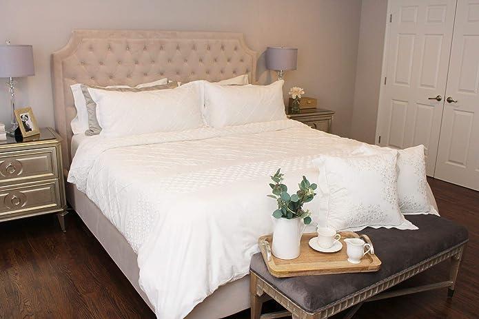 Mosaic Duvet Cover Set Full/Queen White - Stone Cottage™