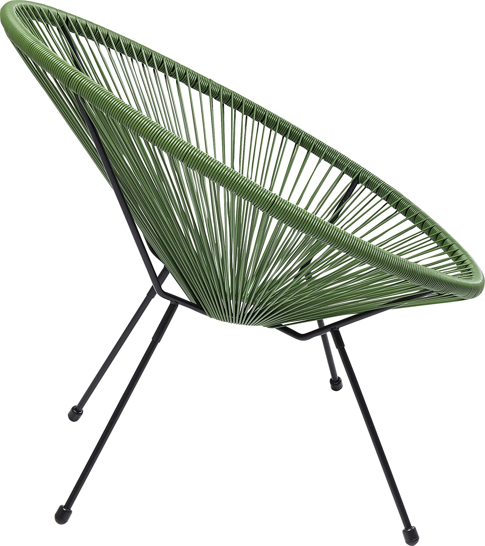 Kare Design Sessel Acapulco Schwarz Gartenstuhl moderner Acapulco Sessel Relaxsessel XXL Retro Chillsessel Outdoorgeeignet Stuhl 85x73x78cm Wetterfest Outdoorstuhl H//B//T
