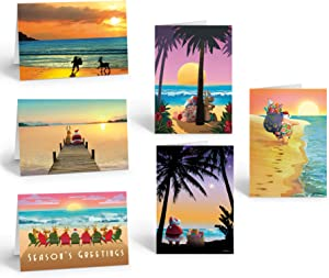 Beach Christmas Card Variety Pack - 18 Cards & Envelopes - 6 Designs, 3 Cards Per Design - Holiday Sunsets - Tropical Christmas Cards