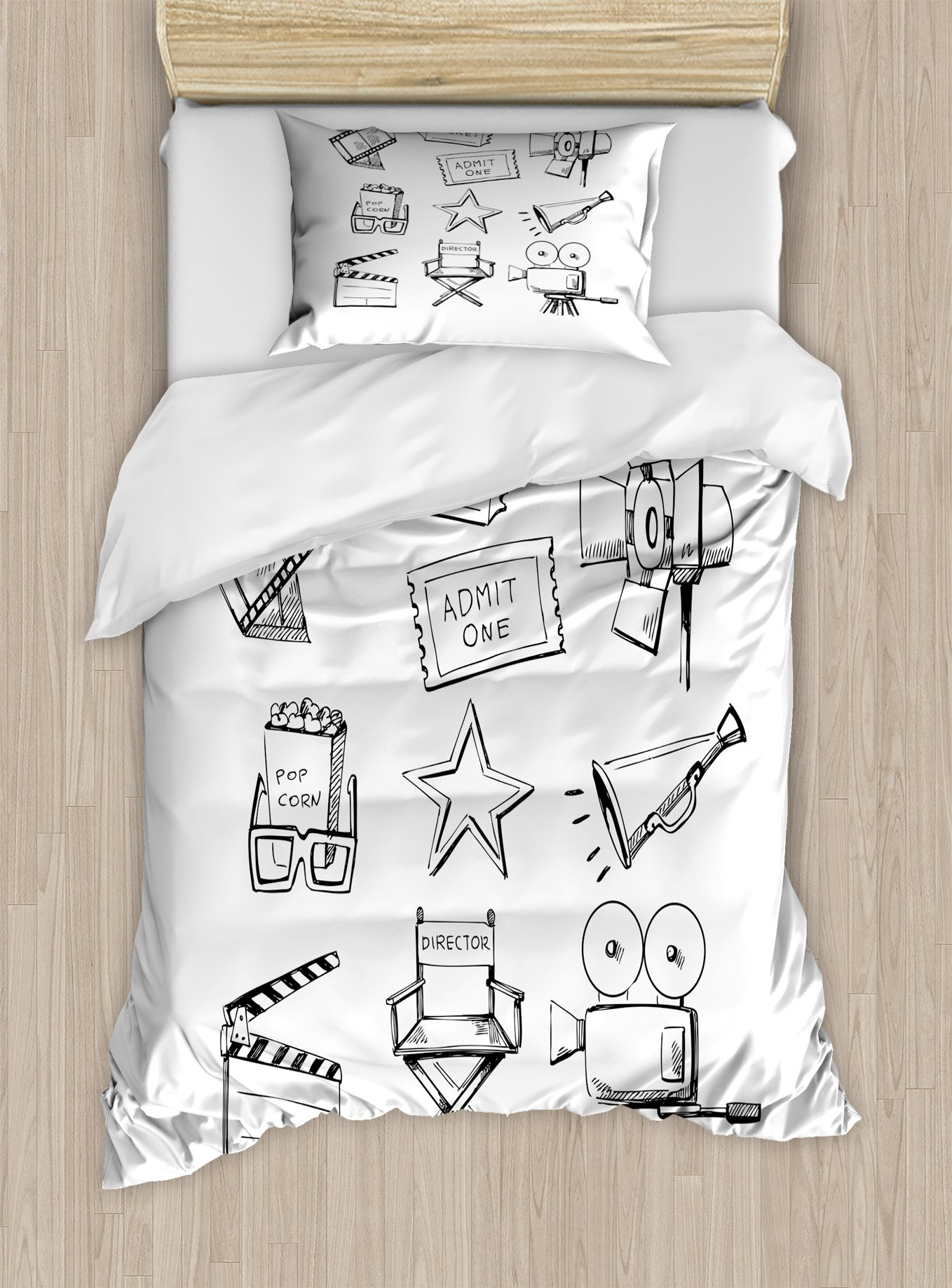 Ambesonne Movie Theater Twin Size Duvet Cover Set, Sketchy Movie Icon Set in Black and White Entertainment Industry Media TV, Decorative 2 Piece Bedding Set with 1 Pillow Sham, Black White