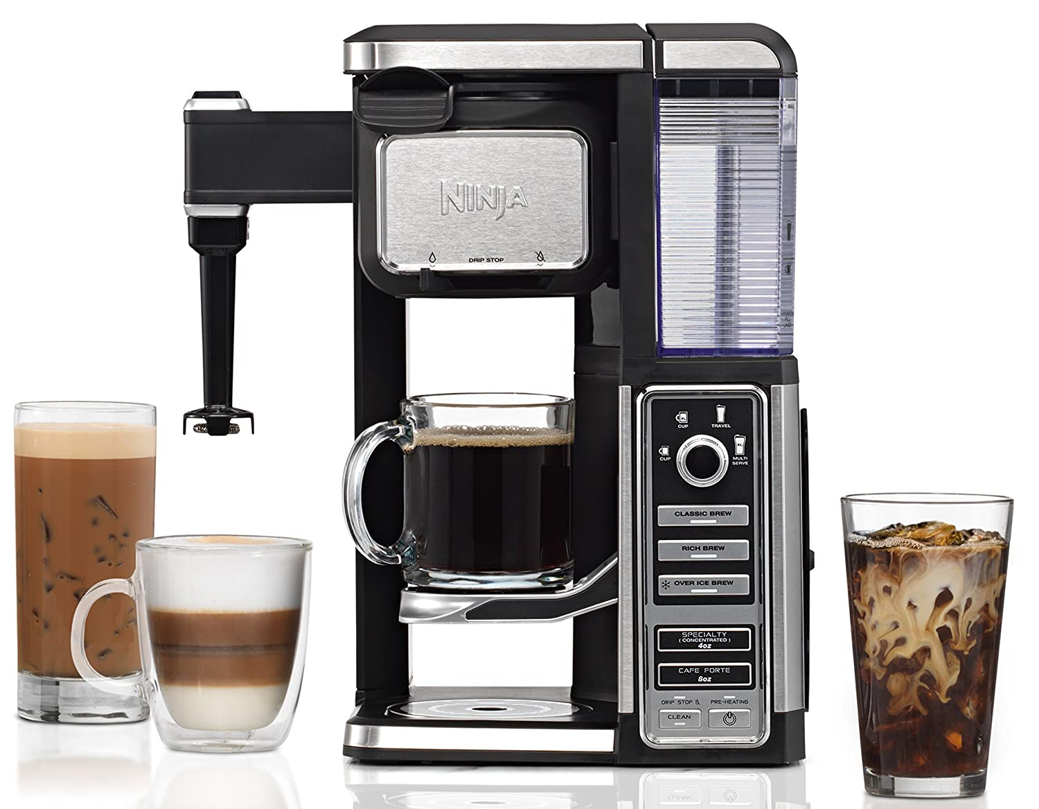 Ninja Single-Serve, Pod-Free Coffee Maker Bar with Hot and Iced Coffee, Auto-iQ, Built-In Milk Frother, 5 Brew Styles, and Water Reservoir (CF112) (Certified Refurbished) SharkNinja