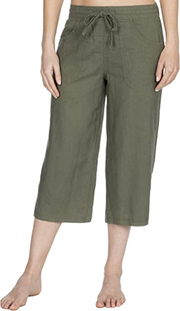 uk availability where can i buy los angeles Causeway Bay Ladies Linen Blend Cropped 3/4 Length Trousers
