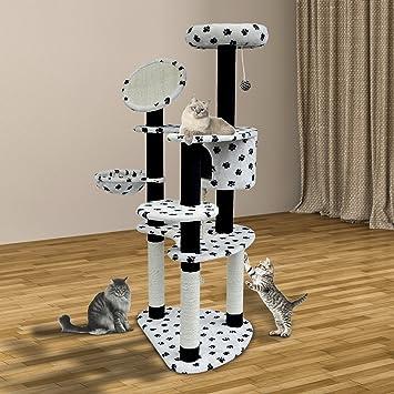 HOMCOM Rascador para Gatos 153x65x50 cm Arbol para Arañar Poste Centro De Actividades Gato