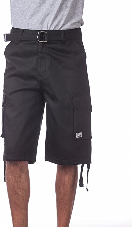Regular and Big /& Tall Sizes Pro Club Mens Cotton Twill Cargo Shorts With Belt