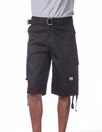1765476deb Pro Club Men's Cotton Twill Cargo Shorts with Belt - Regular and Big ...