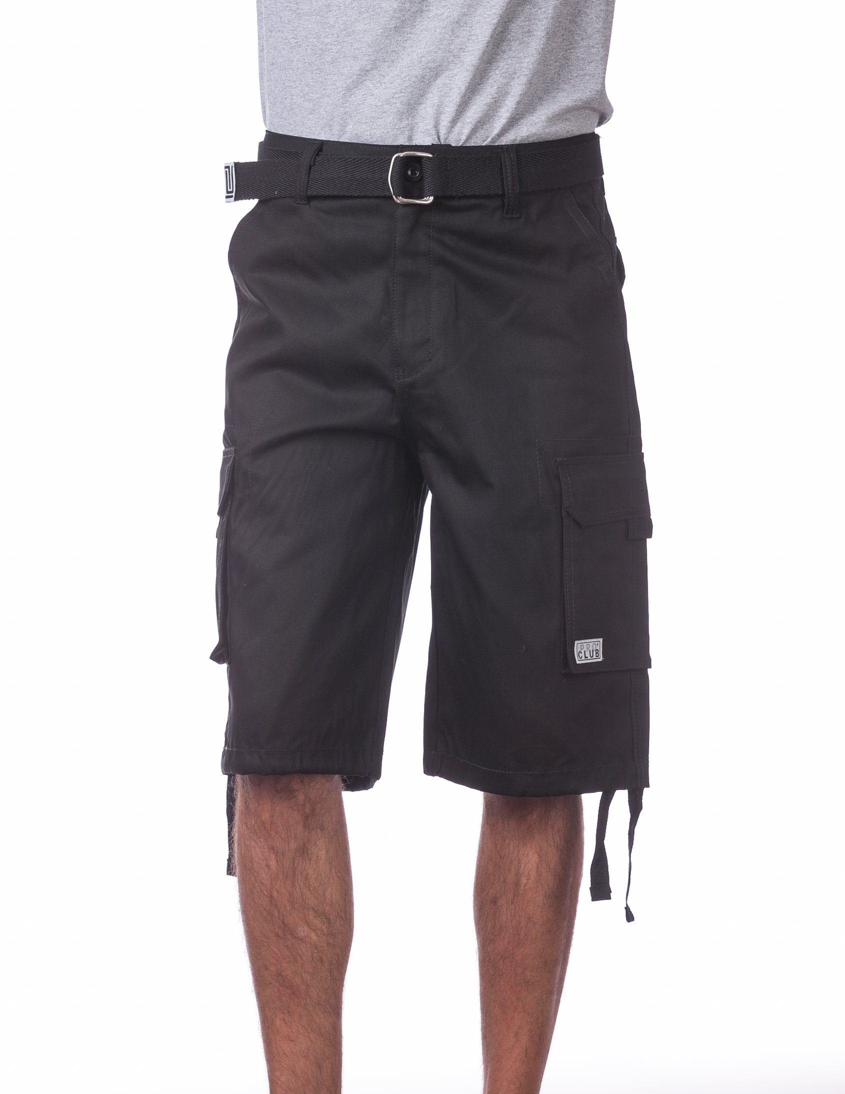 Pro Club Men's Cotton Twill Cargo Shorts with Belt, 42'', Black