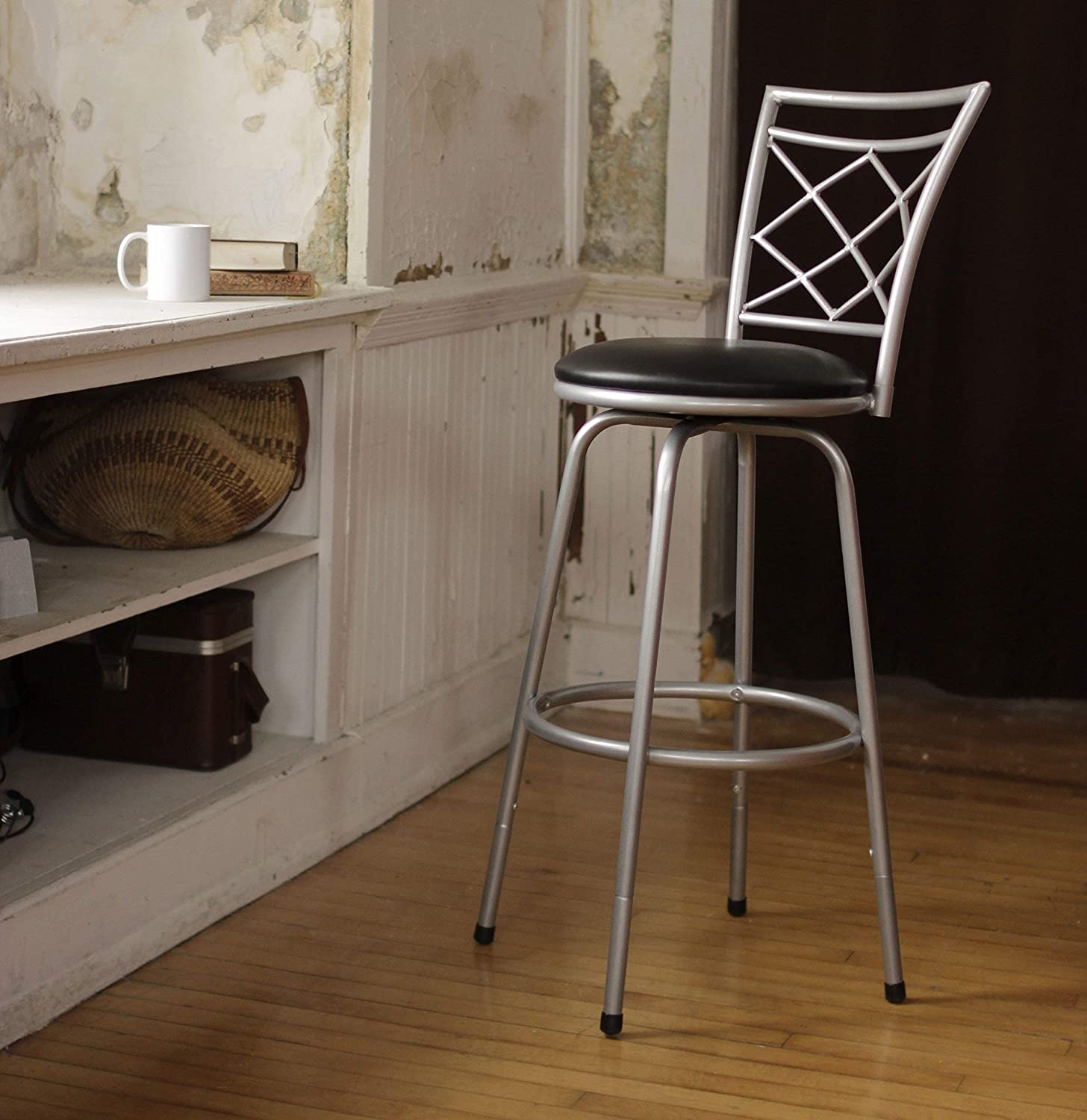 Halfy Round Seat Counter-to-Bar Height Adjustable 360 Degree Swivel Metal Bar Stool, Silver
