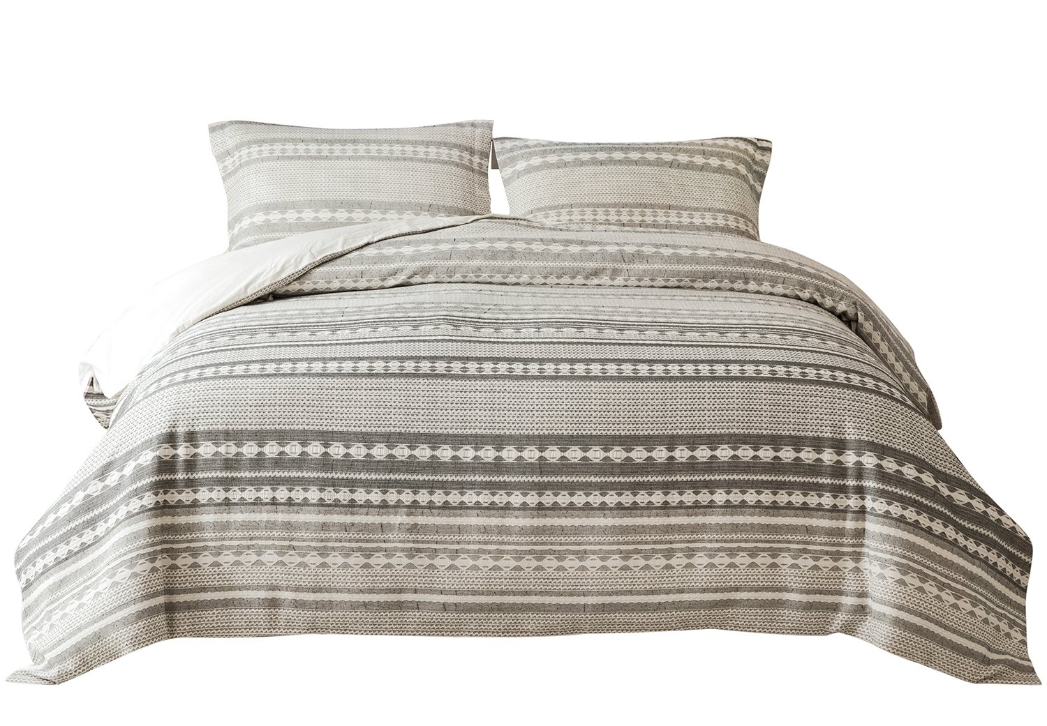 PHF Yarn Dyed Duvet Cover Set Jacquard Bedding 100% Cotton 3 Pieces King Size Grey