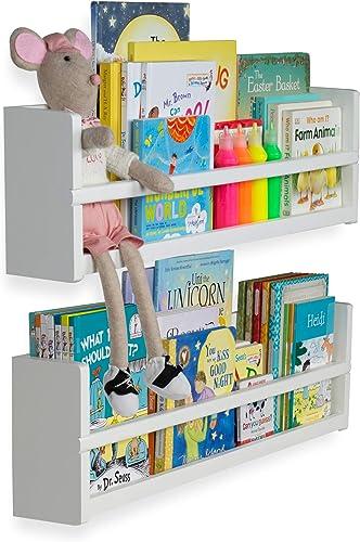 brightmaison Nursery D cor Wall Shelves 2 Shelf Set Wood Floating Bookshelve
