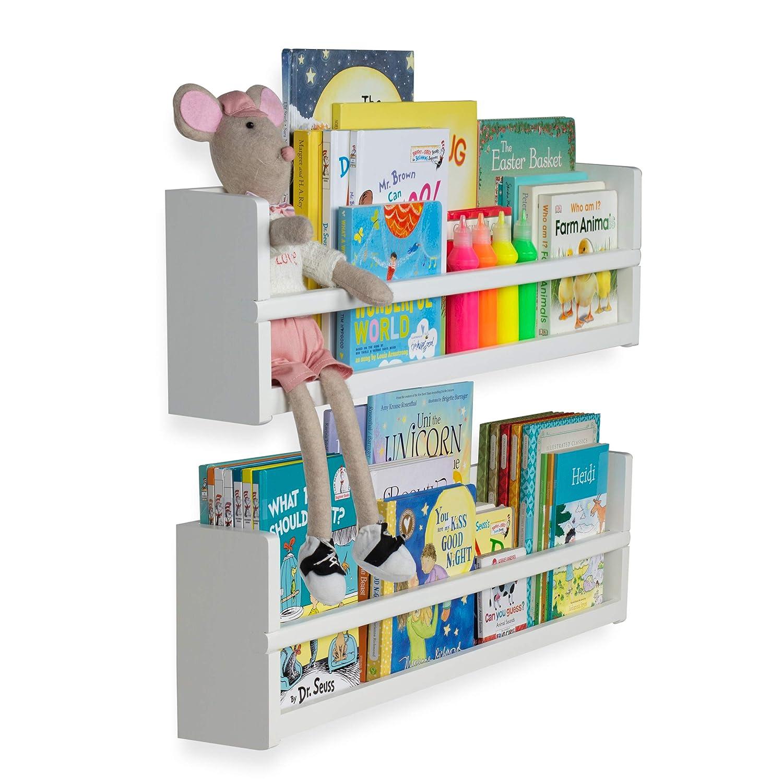 Brightmaison Nursery Decor Wall Shelves 2 Shelf Set Wood Floating Bookshelves For Baby Kids Room Book Organizer Storage Ledge Display Holder