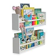 brightmaison Nursery Décor Wall Shelves – 2 Shelf Set – Wood Floating Bookshelves for Baby & Kids Room, Book Organizer Storage Ledge, Display Holder for Toys, CDs, Spice Rack – Ships Assembled