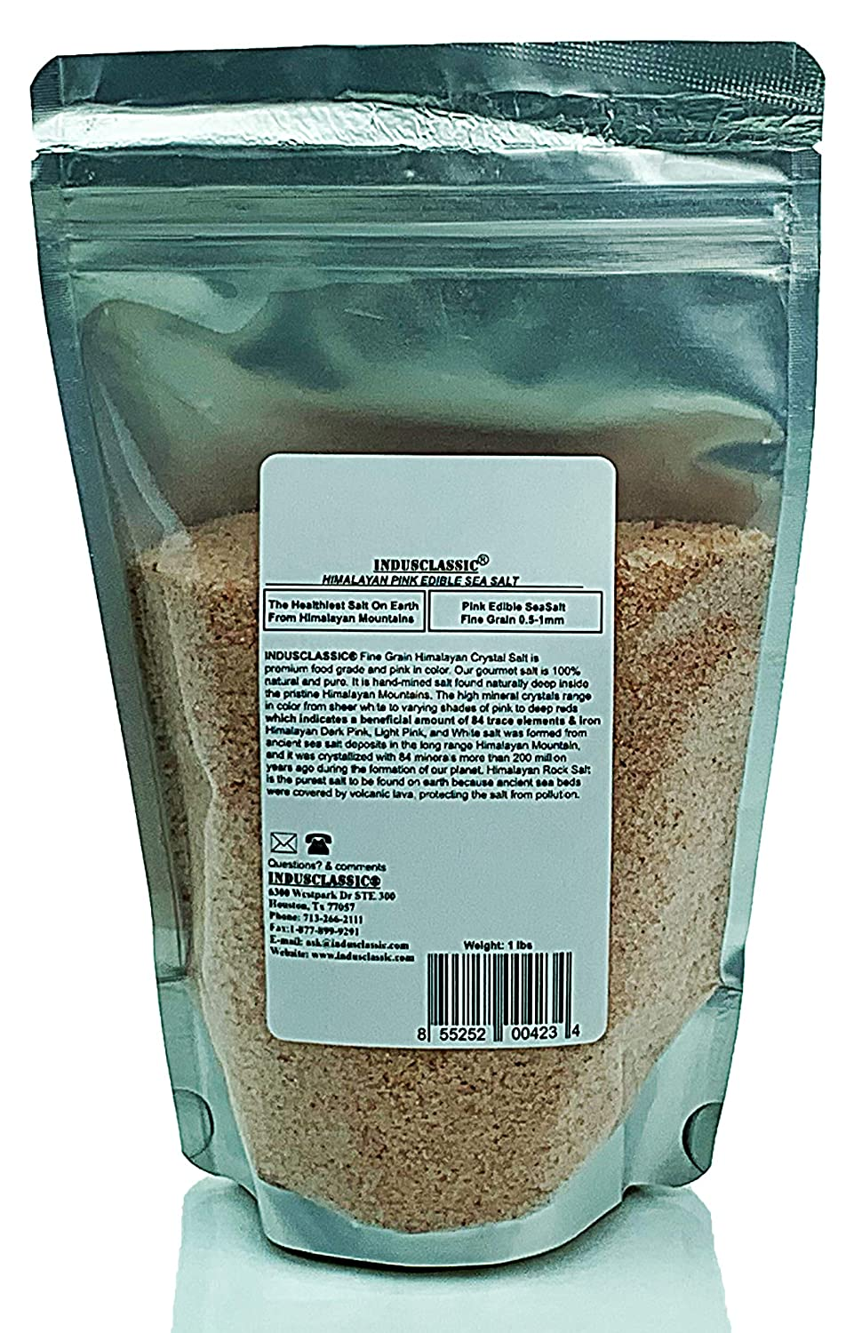 IndusClassic Kosher Pure Natural Halall Unprocessed Himalayan Edible Pink Cooking Salt Fine Grain 0.5mm to 1mm