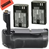 Battery Grip Kit for Canon EOS 7D Digital SLR Camera Includes Qty 2 Replacement LP-E6 Batteries + Vertical Battery Grip + Mor