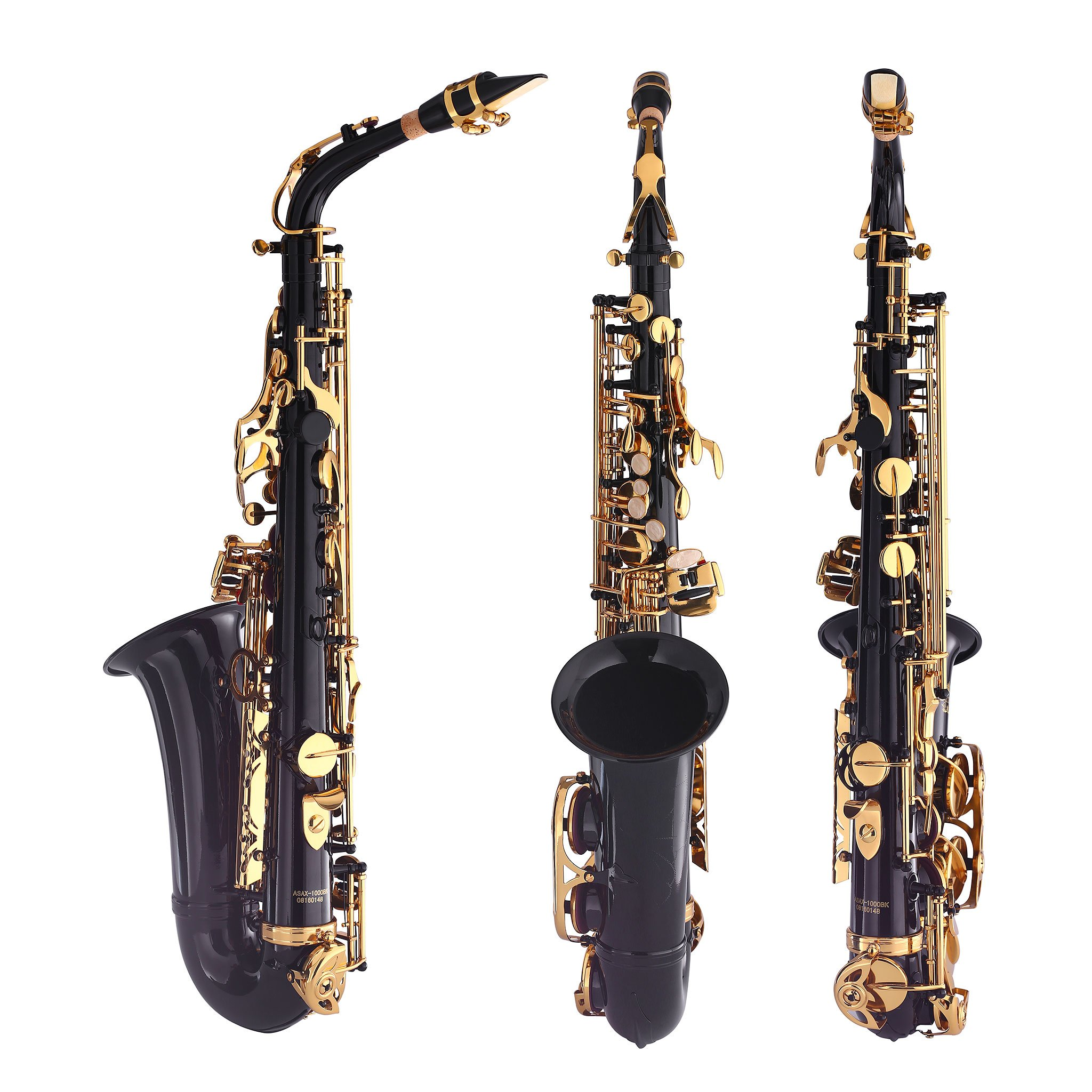 Kaizer Alto Saxophone E Flat Eb Black Lacquer Body Gold Keys 1000 Series Sax Includes Case Mouthpiece and Accessories ASAX-1000BKGK by Kaizer (Image #2)