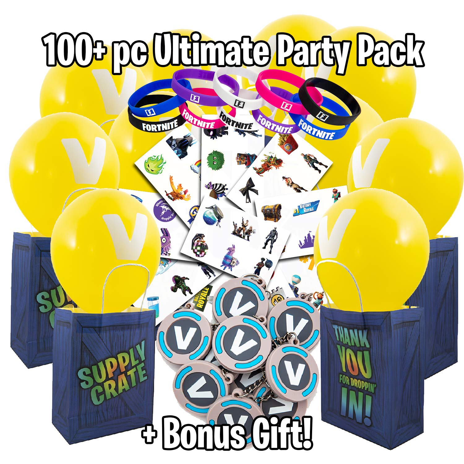 video game party supplies battle royale themed party favor set includes supply drop bags tattoo sheets balloons silicone bands buck key chains - amazon prime fortnite party supplies