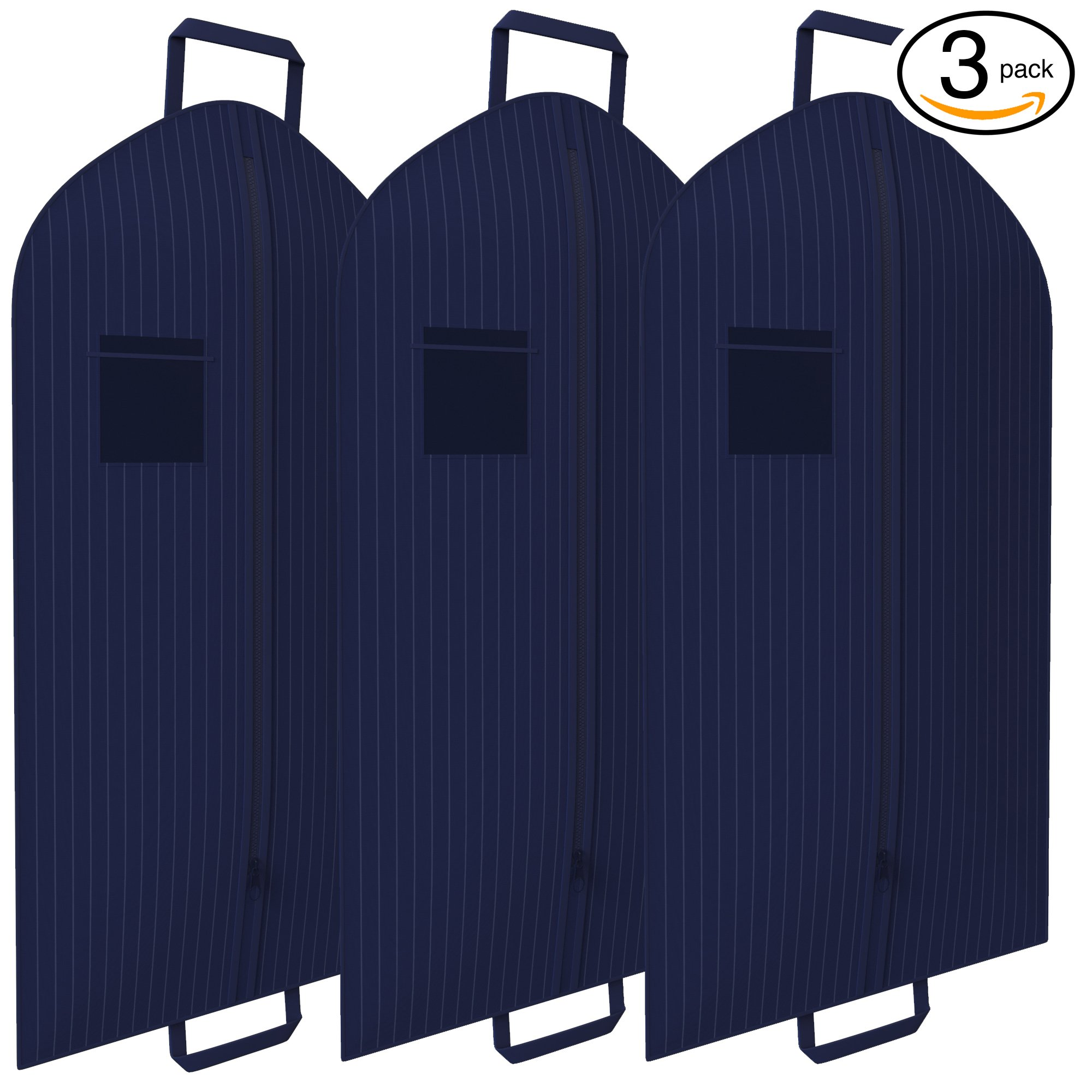 Navy Pinstriped Suit Garment Travel Bags 3 Pack With ID Tag Window - 40'' X 24''