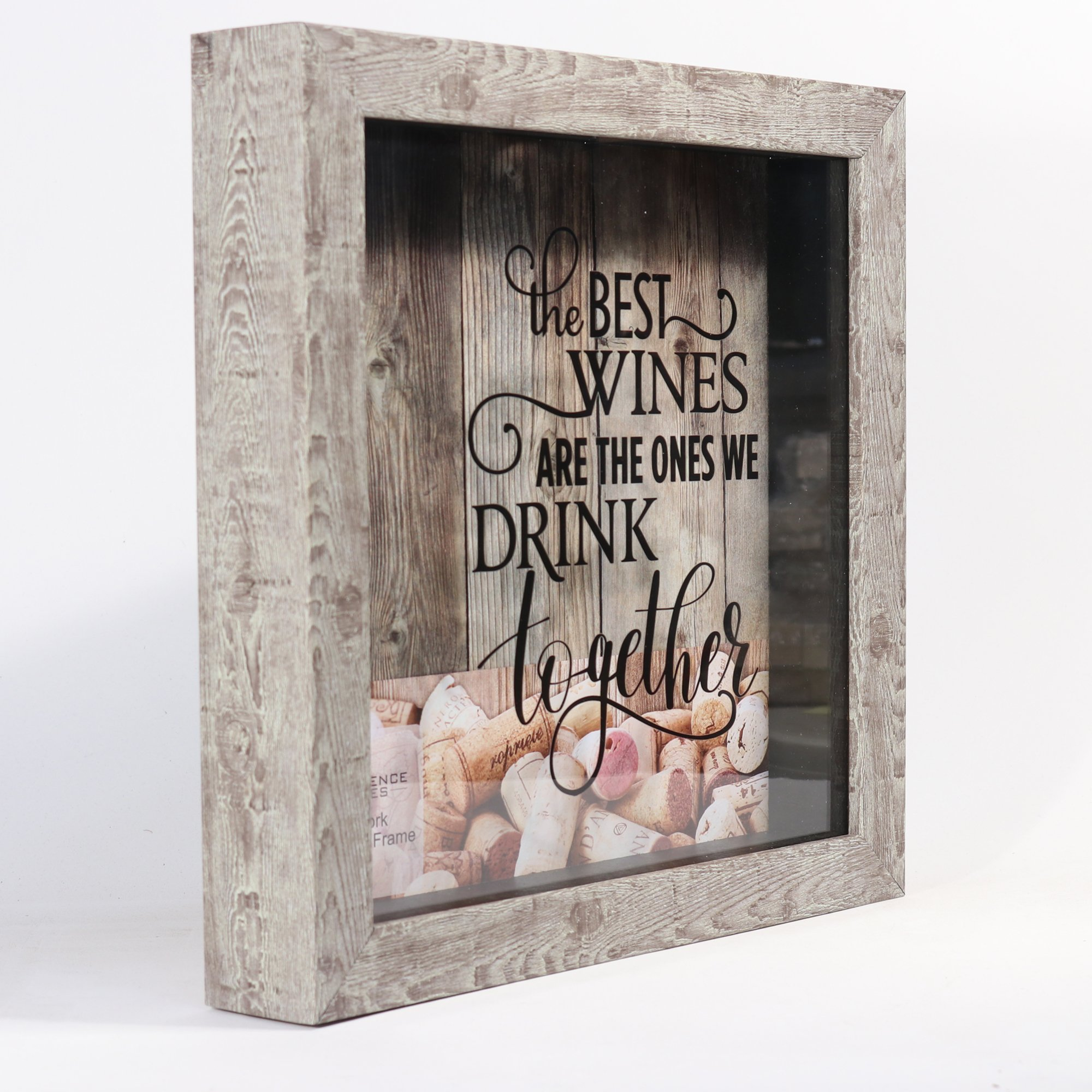 Lawrence Frames 10x10 Weathered Birch Shadow Box Wine Cork Holder