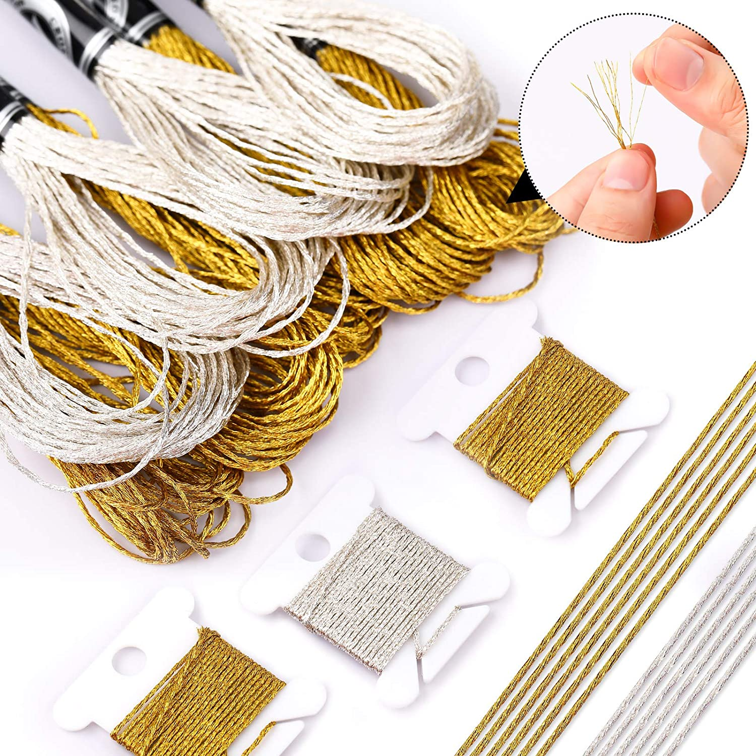 12 Skeins Metallic Embroidery Threads Glitter Embroidery Floss Cross Stitch Threads 12 Pieces Floss Bobbins 2 Embroidery Needles with Needle Threader for Floss-Cross Stitch Craft Needlework
