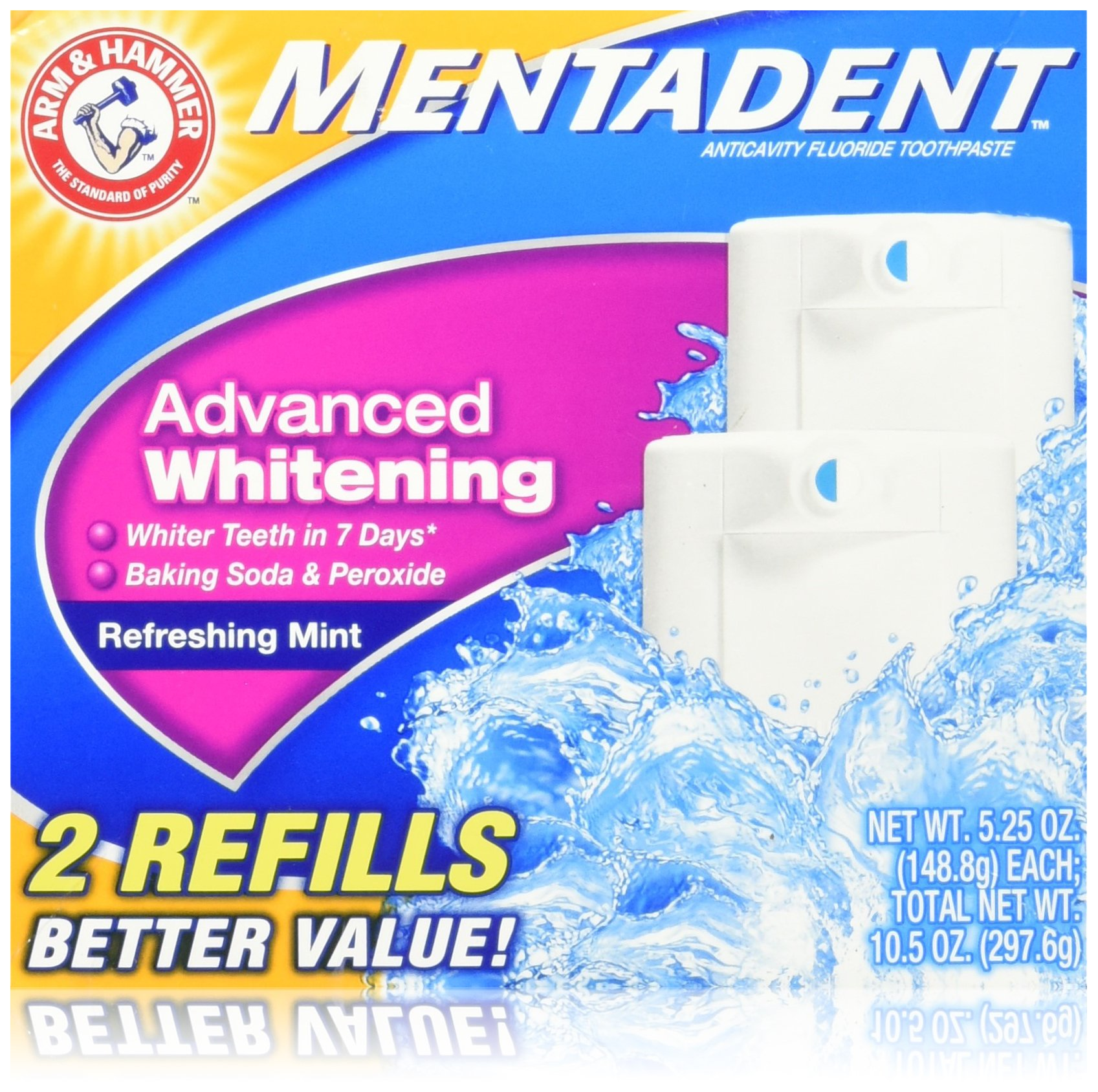 Mentadent Toothpaste 2 Refills Advanced Whitening Refreshing Mint 5.25 Oz. (Pack of 2)