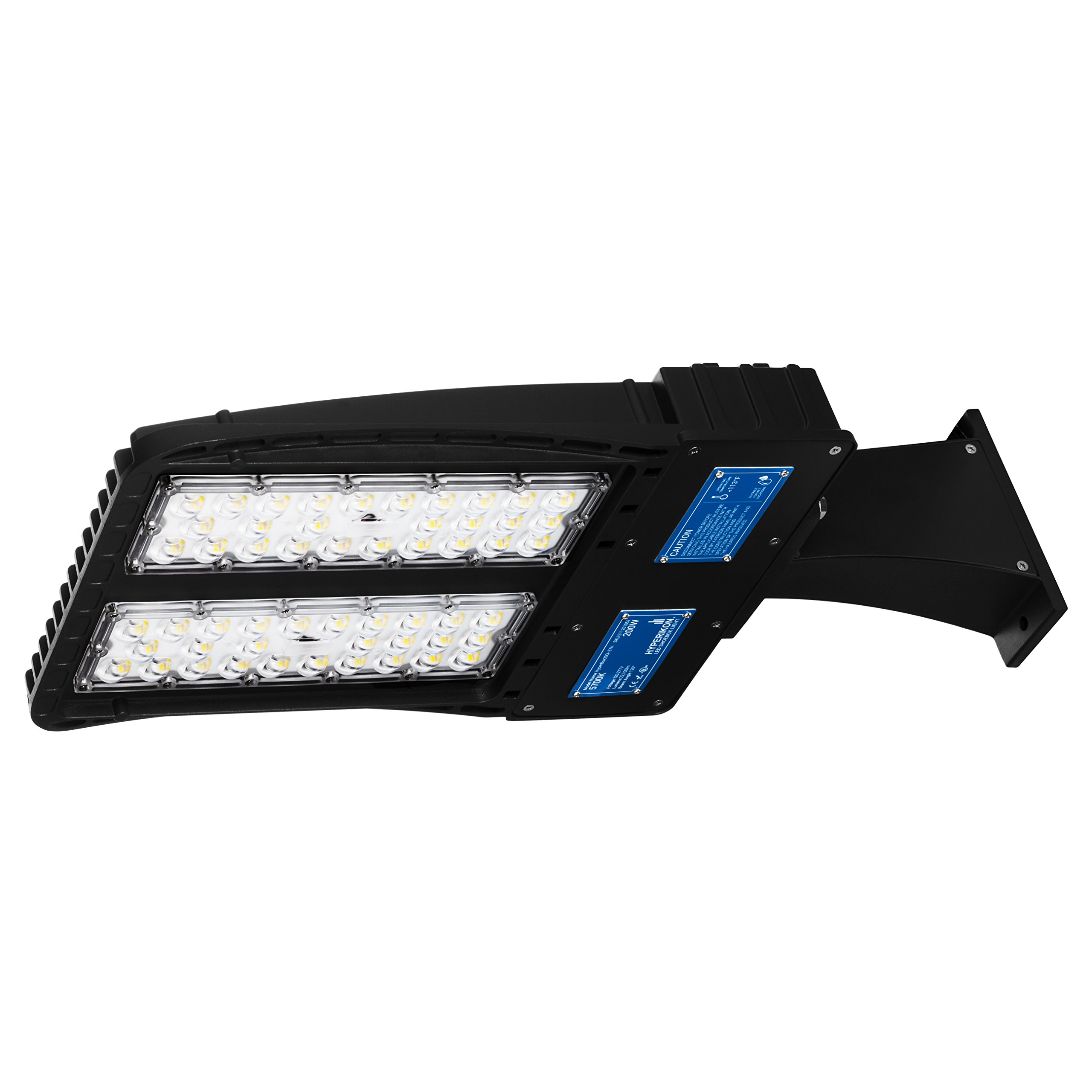 Hyperikon LED Shoebox Pole Light, 200W (600W HID/HPS Replacement) 5700K, 22,100 lumen, Direct Wiring AC 100-277V, Street Parking Lot Lights, Free Photocell Included, IP65, UL & DLC