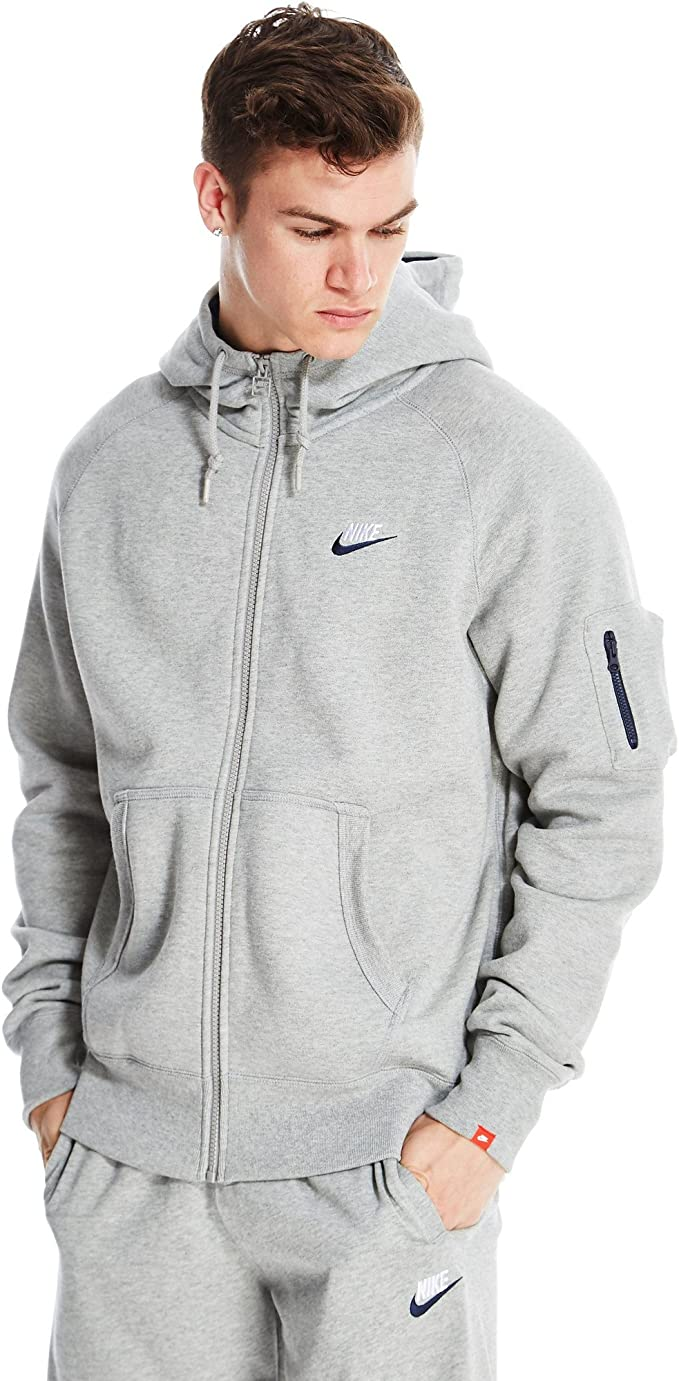 Nike gründer aw77 herren grau fleece kapuzenjacke Grey