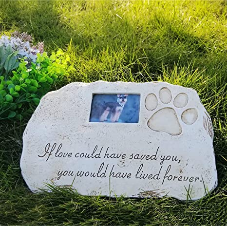Re Call Pet Tombstone Dog Or Cat Memorial Stone Personalized With Waterproof Photo Dog Or Cat Grave Markers In Lawn And Garden