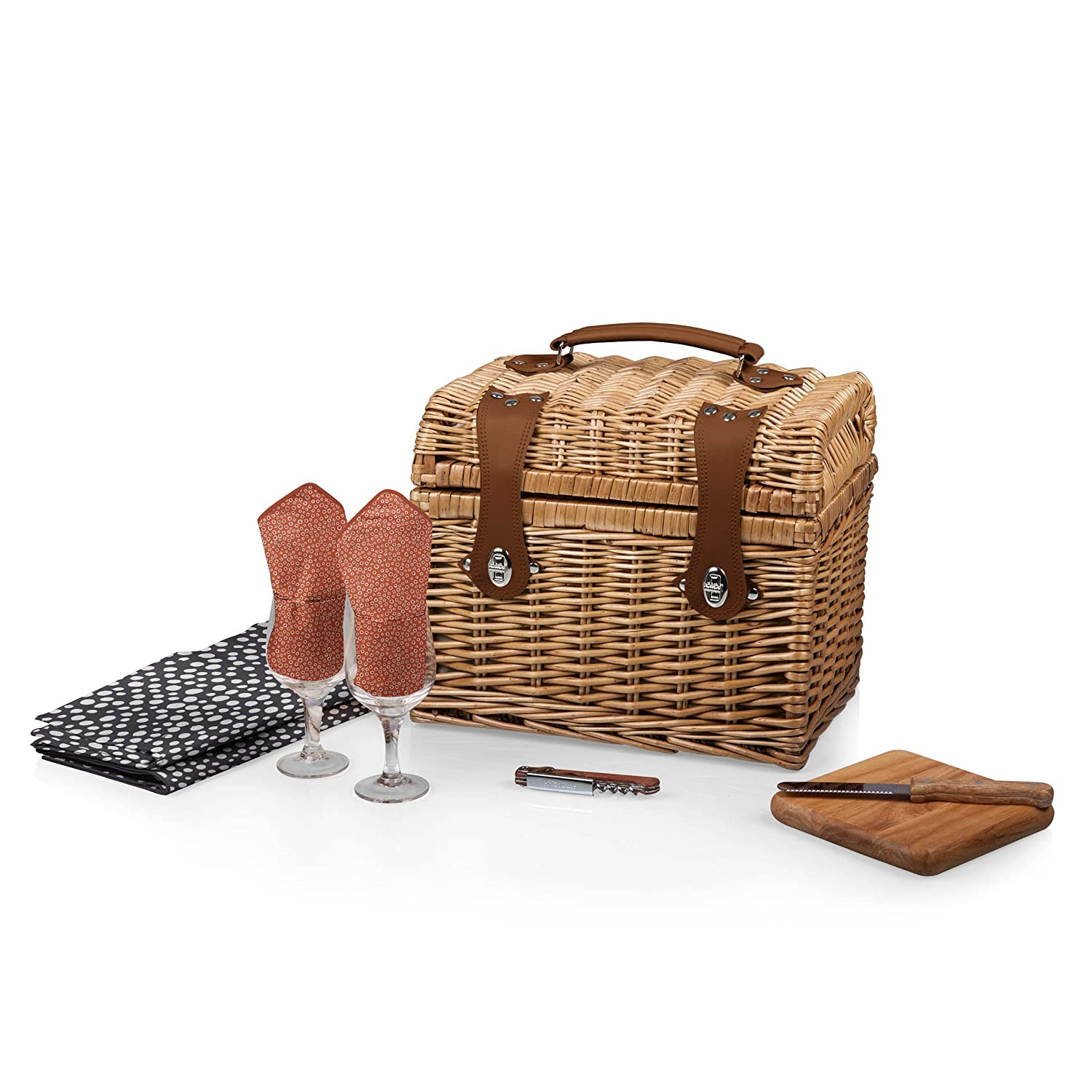 Amazon.com: Picnic Time U0027Napau0027 Picnic Basket With Wine And Cheese Service  For Two, Botanica Collection: Patio, Lawn U0026 Garden