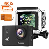 CAMKONG Waterproof Sports Action Camera 4K 20MP Wi-Fi Action Cam Waterproof 30M 2.0 Inch LCD Screen 170 Wide-Angle Dual 1350mAh Batteries and Mounting Accessories Kits for Bike Motorcycle Surfing Diving Swimming Skiing