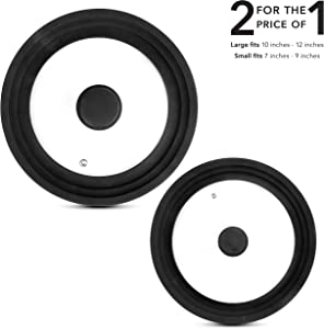 Universal Lids for Pots, Pans and Skillets (Set of 2) Smaller Lid Fits All 7 to 9 Inch Pots and Pans - Larger Lid Fits 10 to 12 Inch Cookware - Replacement Frying Pan Lid (Black)