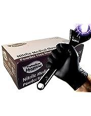 Guantes médicos desechables, resistentes, de nitrilo, de color negro, sin polvo, caja de 100, BLACKN