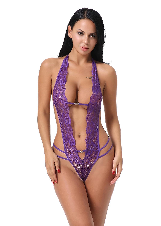 FasiCat Women's Deep V Halter Lingerie Lace Babydoll Teddy Bodysuit Mini Dress qingqu50-purple-2XL
