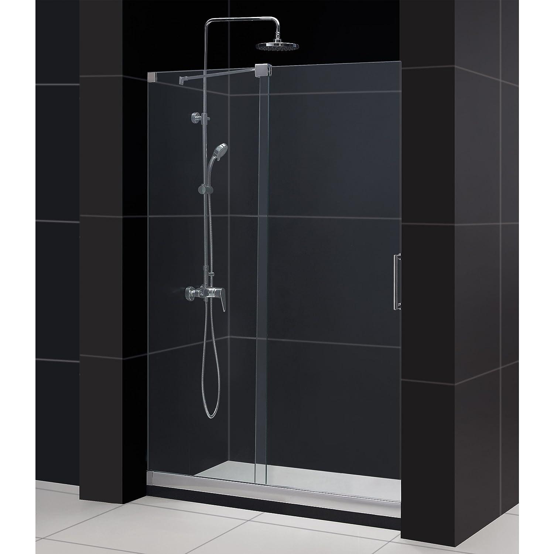 Width Frameless Sliding Shower Door 3 8 Glass Brushed Nickel Finish Com