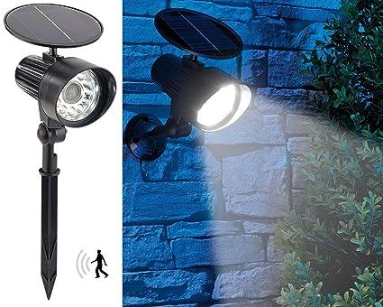 Royal Gardineer PIR-Solarstrahler LED: 2in1-Solar-LED-Wand- und ...