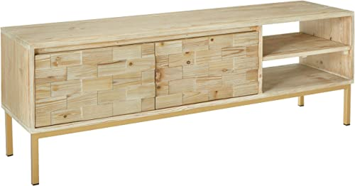 Amazon Brand Rivet Pieced-Wood Reclaimed-Fir Storage Media Console, 63 W, Natural Stain