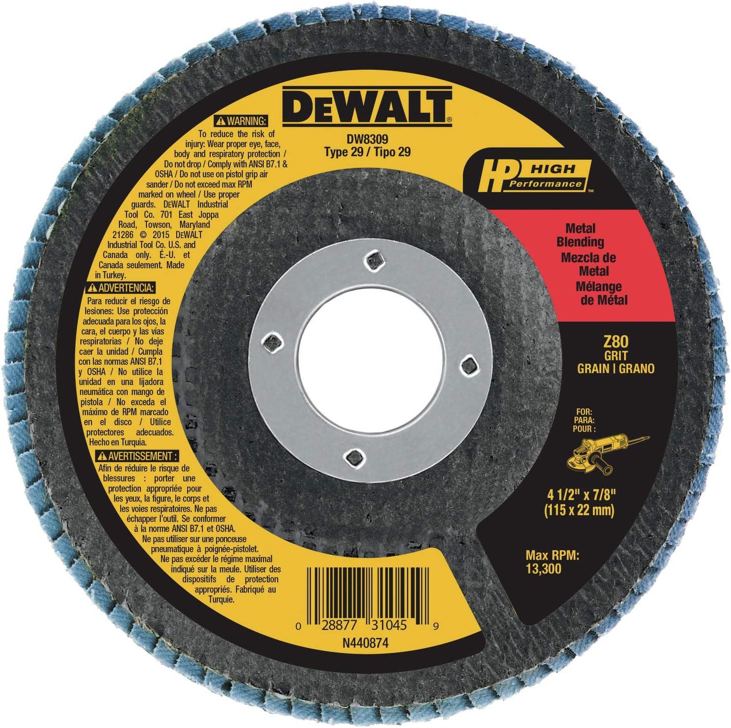 DEWALT Flap Disc, Zirconia, 4-1/2-Inch x 7/8-Inch, 80-Grit (DW8309) - Abrasive Cutoff Wheels -