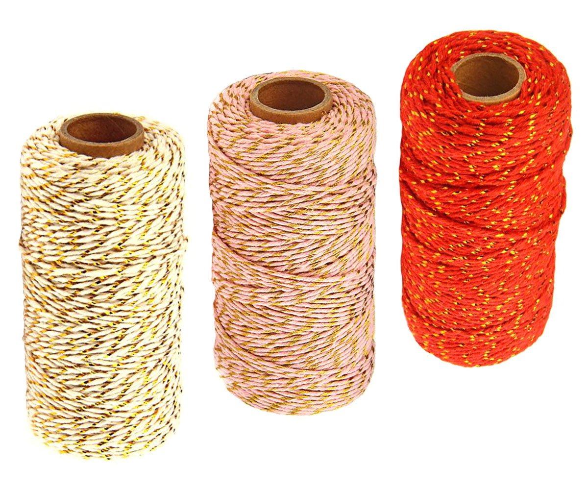 3 Roll Christmas Two-Color Gold Wire Combined Cotton Thread - 109 Yards/Roll - Xmas Hand Weave DIY Gift Wrapping Belt and Tag Fine Cotton Rope (Beige + Red + Pink)