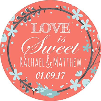 Wedding Elegant Peach Sticker Labels for Party Bag Sweet Cones