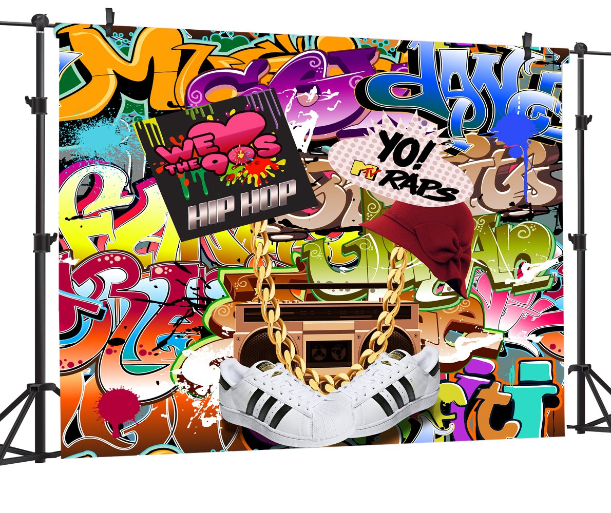 OUYIDA 7X5FT Hip Hop Graffiti Pictorial cloth photography Background Computer-Printed Vinyl Backdrop PCK06