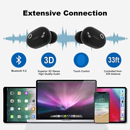FERRISA TWS Bluetooth Earbuds, Wireless Headset Earbuds Bluetooth 5.0, Deep Bass Waterproof Stereo in-Ear Headphones Noise Reduction with Charging Case Black