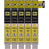 5 Druckerpatronen für Canon mit Chip, ersetzt CLI-551Y yellow