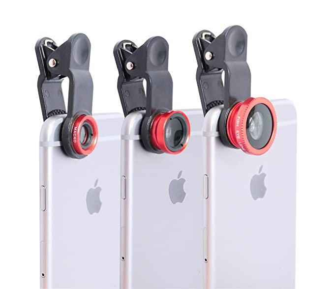 Clip on Cell Phone Camera Lens - (Red) - Take Better