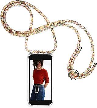 Housse Silicone Transparente Case Necklace Bandouili/ère Styl/ée Expatri/é Collier Pochette T/él/éphone Compatible iPhone XR Gris Lola Coque Smartphone Tour de Cou Lani/ère en Corde