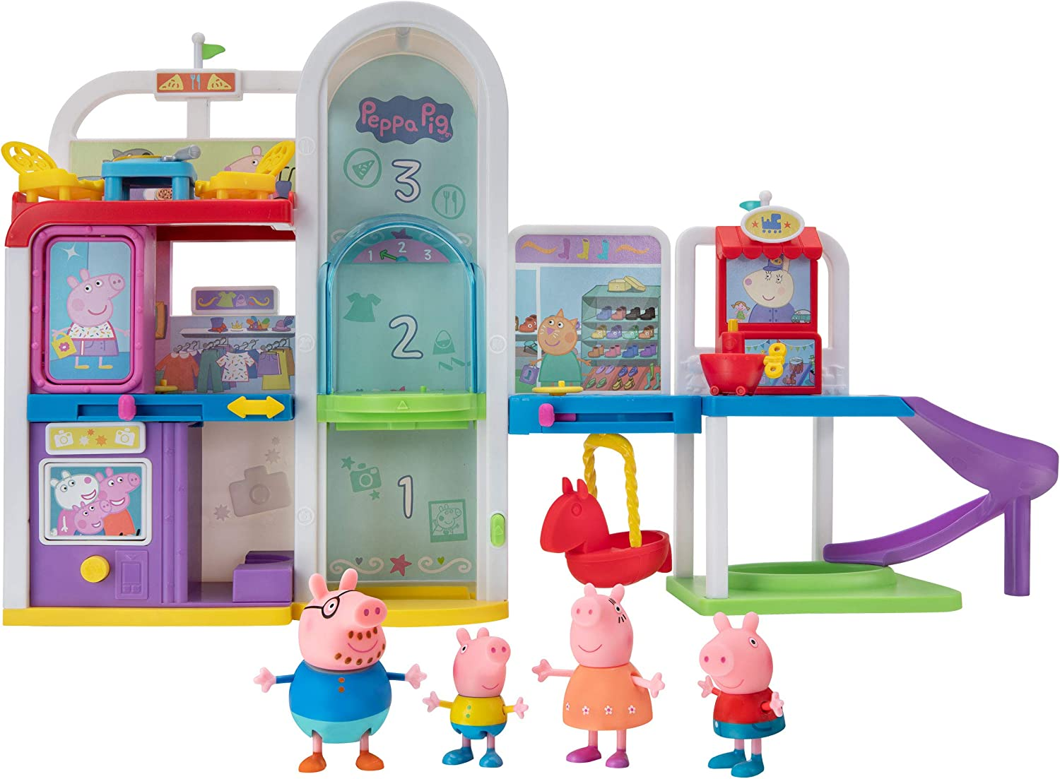 Peppa Pig Shopping Mall with Family, Includes 1 Connectable Mall Playset, 4 Character Toy Figures, 2 Chairs, 1 Pizza Table, 1 Toy Boat – Toys for Kids - Amazon Exclusive