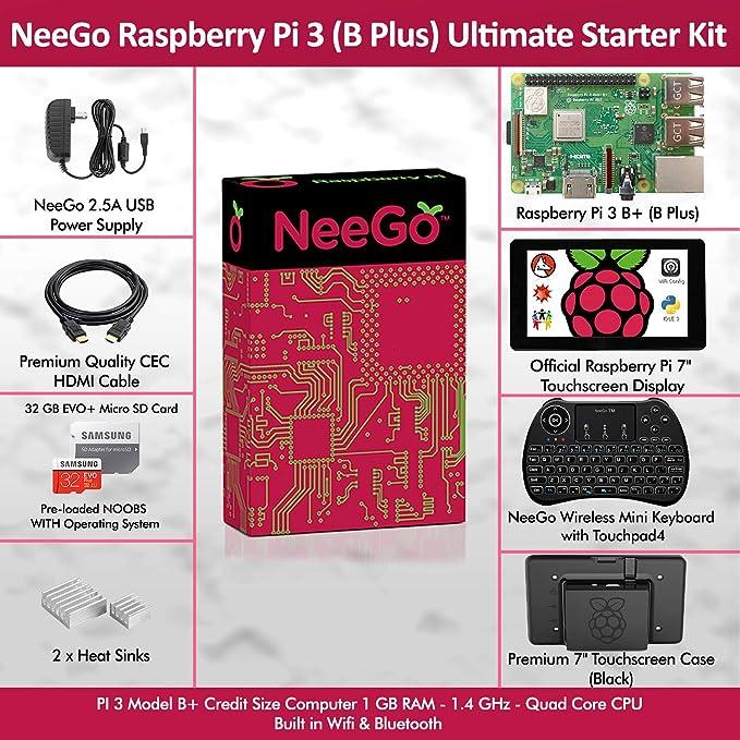 Breadboard 12voltnet Raspberry Pi 3+ Ultimate Starter Kit AC HDMI kit only SD Card