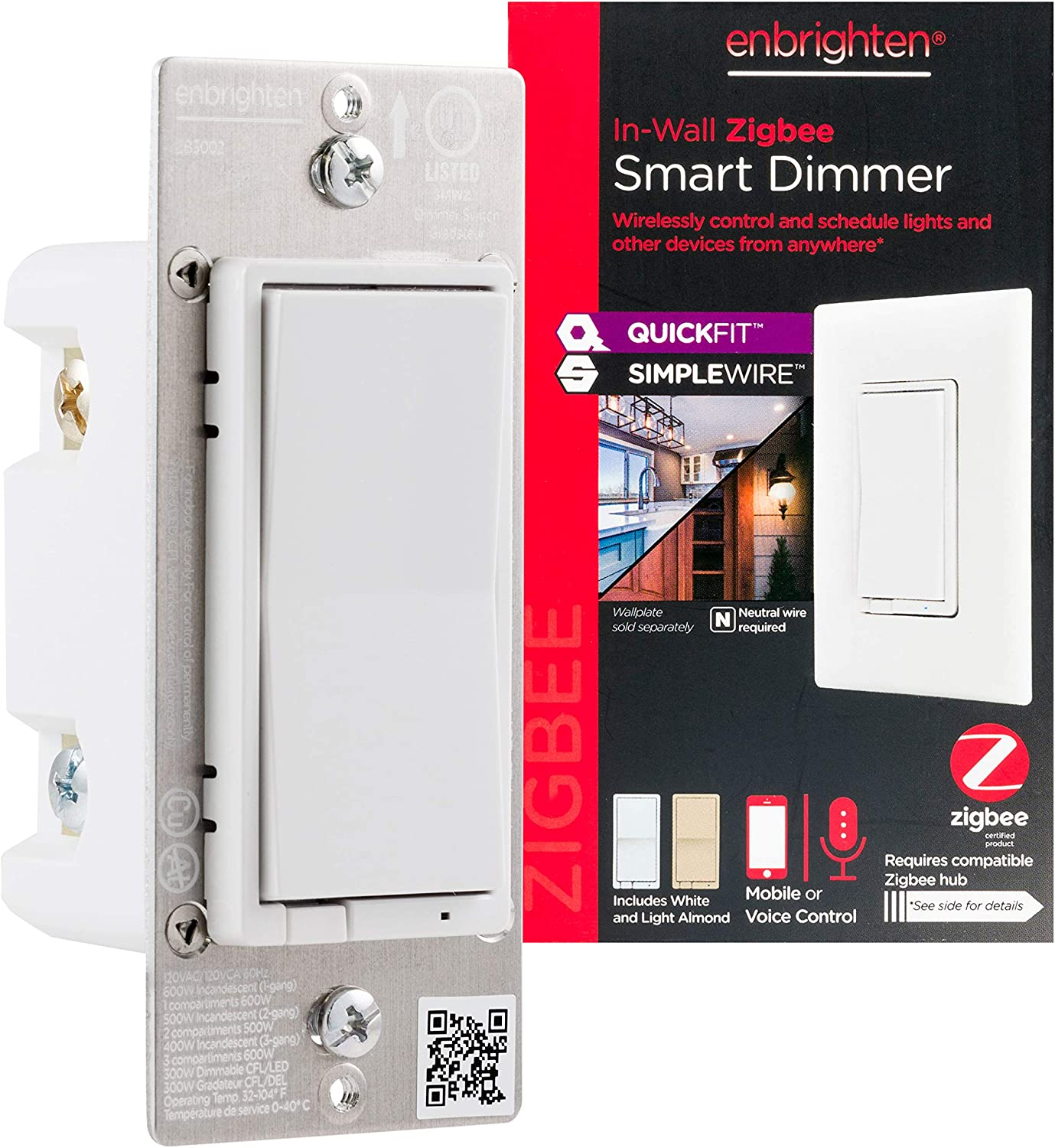 Enbrighten Zigbee Smart Light Dimmer with QuickFit and SimpleWire, Pairs Directly with Echo Studio/Echo Show 10/Echo Plus 1st & 2nd Gen, White & Light Almond, 43080