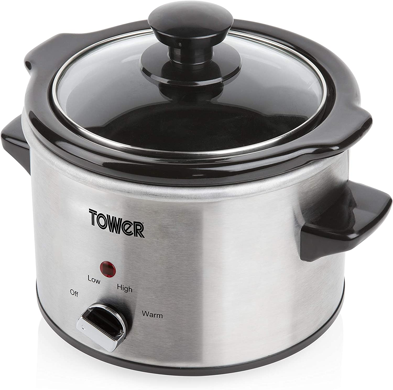 TOWER Stainless Steel Slow Cooker with 3 Heat Settings, Keep Warm Function, Tempered Glass Lid, Removable Ceramic Pot, 1.5 Litre, 120 W, Silver