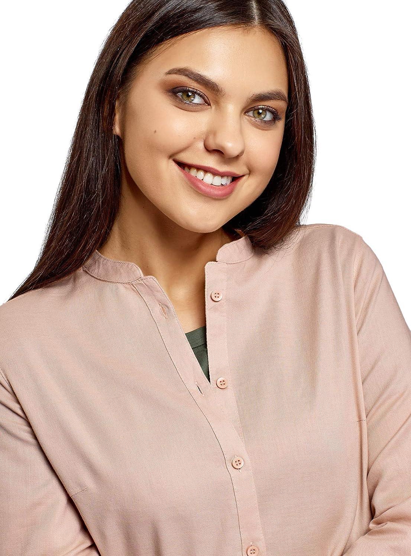 oodji Collection Mujer Camisa de Algod/ón con Cuello Mao