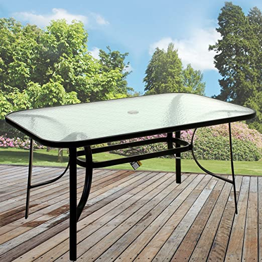 Marko Exterior Muebles de jardín de Mesa Rectangular de Cristal Patio de Comedor para Exteriores Metal Negro: Amazon.es: Jardín