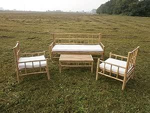 Bambú Muebles de Jardín Jardín Conjunto de muebles de balcón Balcón Conjunto de asiento de madera muebles exterior de asiento Grupo: Amazon.es: Jardín