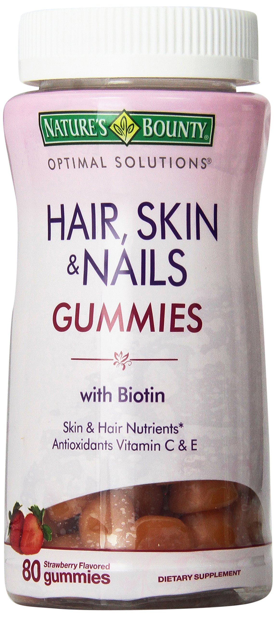 Natures Bounty Optimal Solutions, Hair, Skin & Nails Gummies with Biotin 80 Count (Pack of 2)